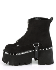 Demonia Chunky Heel Cut Out Platform Ankle Boot w/ Metal Front Zip Closure