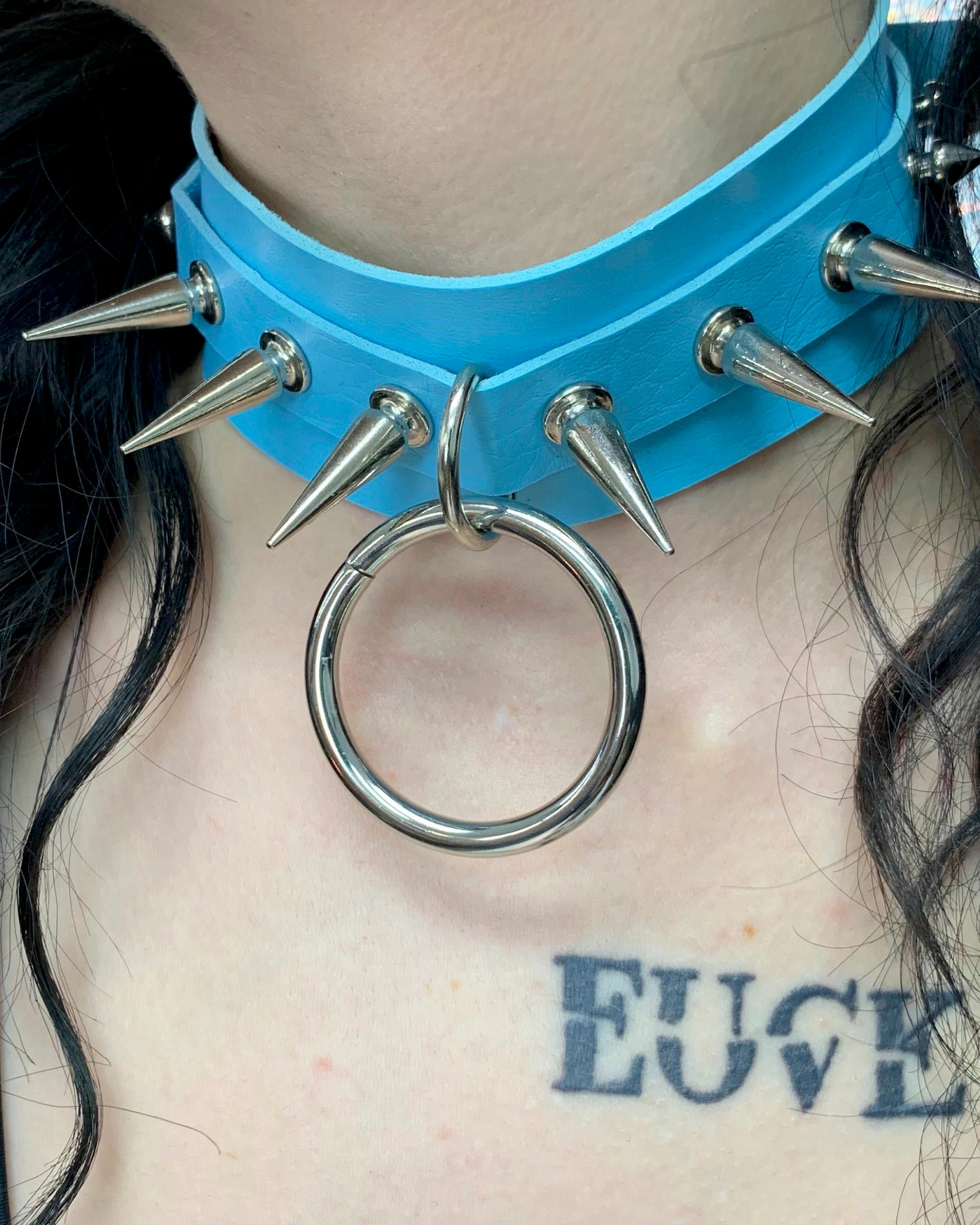 Spiked & Studded O-Ring Faux Leather Choker
