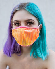Burn Tie Dye Velvet Surgical Face Mask With Filter
