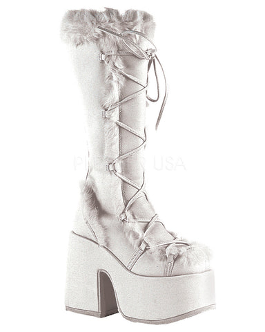 White Furry Winter Faux Fur Boots -  rave wear, rave outfits, edc, booty shorts