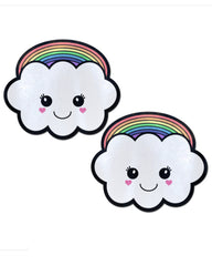 Rainbow Kawaii Cloud Nipple Pasties -  rave wear, rave outfits, edc, booty shorts