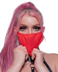 Plain Red Nylon Face Mask With Filter