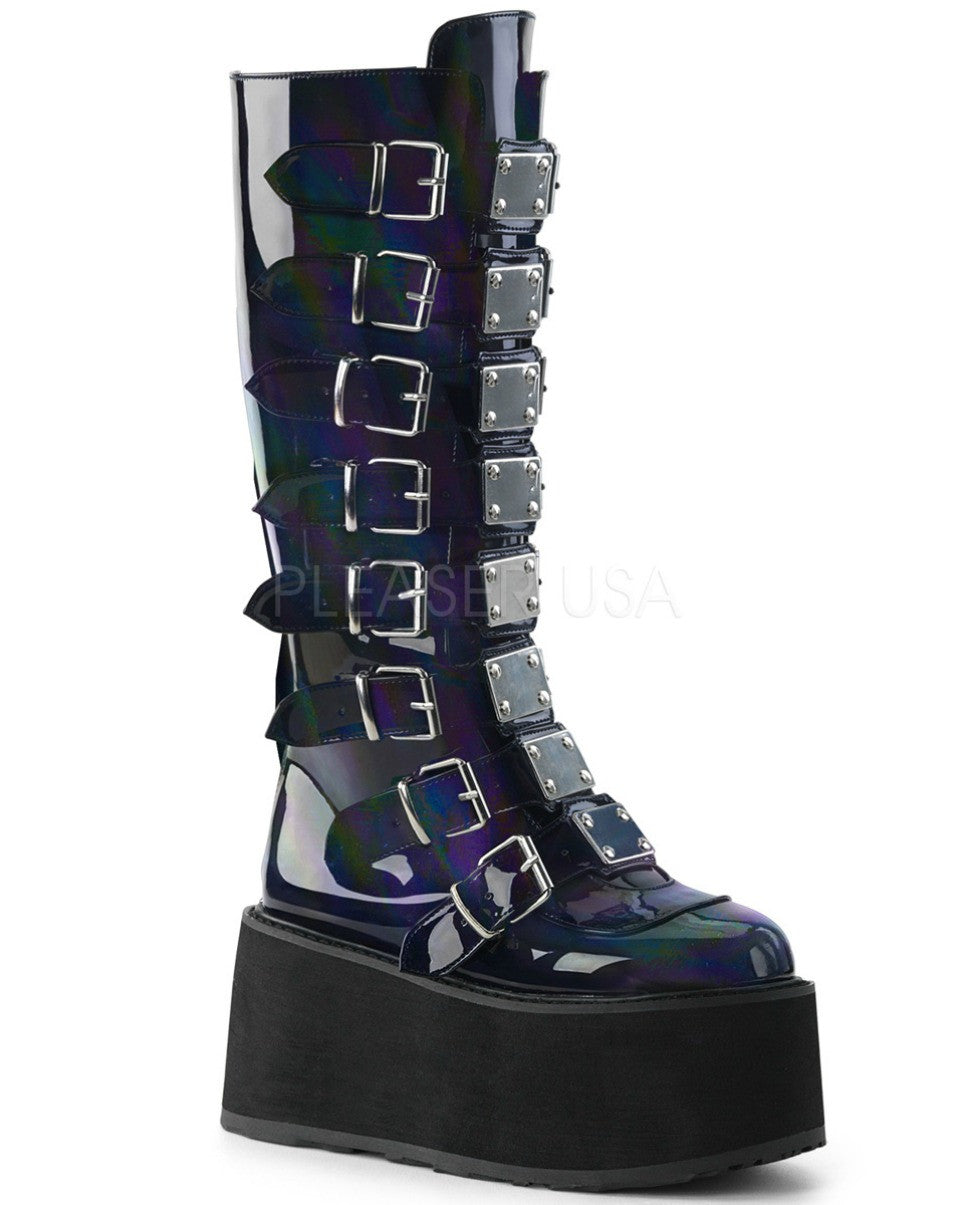Black Holographic Buckled Knee High Platform Boots -  rave wear, rave outfits, edc, booty shorts