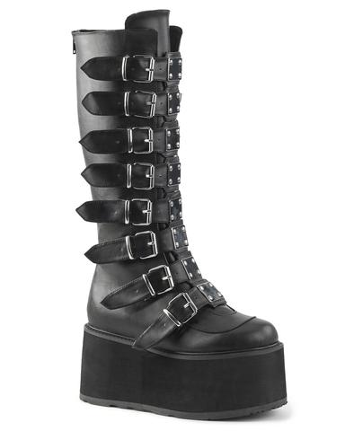 Demonia Damned Matte Black Knee High Boots