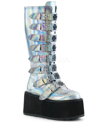 Silver Holographic Buckled Knee High Platform Boots -  rave wear, rave outfits, edc, booty shorts