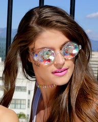 Retro Round Kaleidoscope Glasses -  rave wear, rave outfits, edc, booty shorts