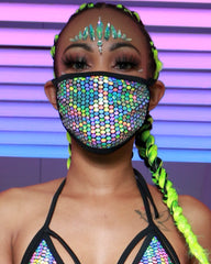 Holographic Silver Galactic Prism Surgical Face Mask