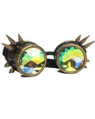 Spiky Kaleidoscope Steampunk Goggles -  rave wear, rave outfits, edc, booty shorts