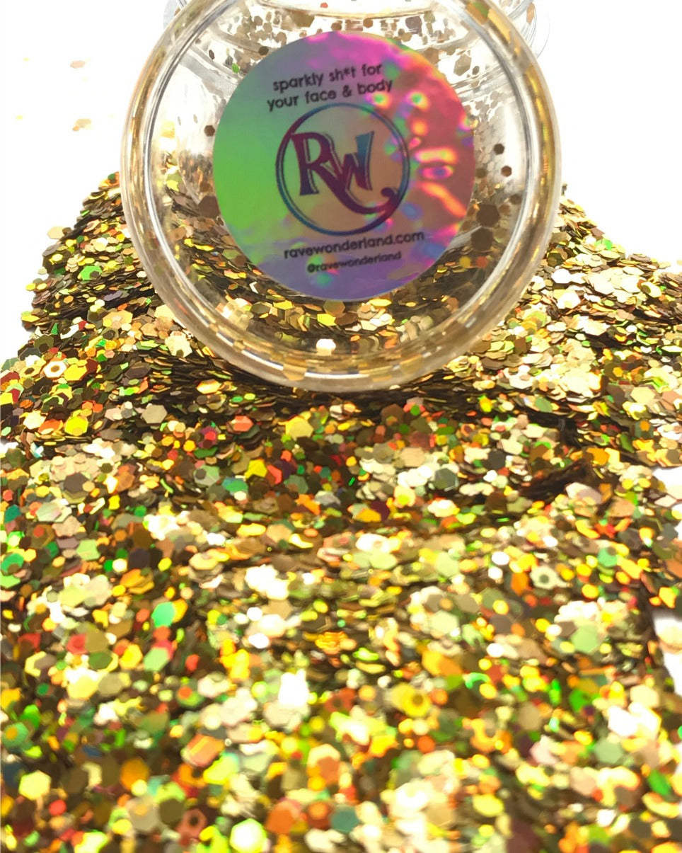 Iridescent Gold Chunk Body and Face Festival Glitter (Large 15 Grams)