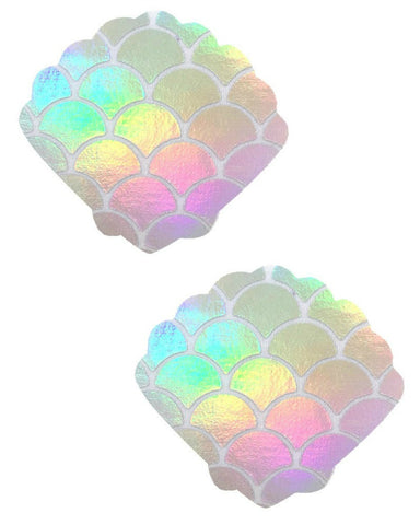 Holographic Iridescent Mermaid Scale Shell Pasties