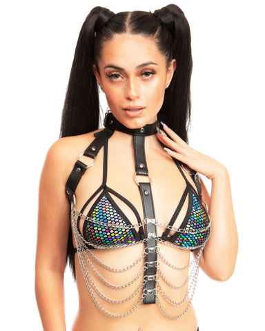 Black Dominate Me Chain Top
