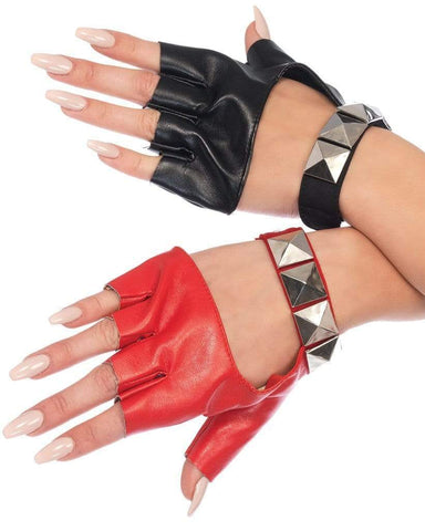 Two-Tone Studded Fingerless Gloves