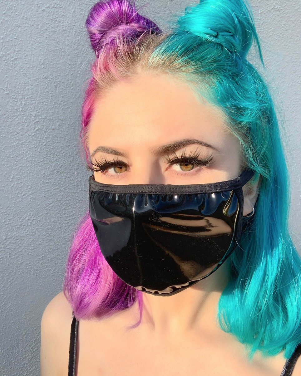 Black Wet Look Vinyl Face Mask