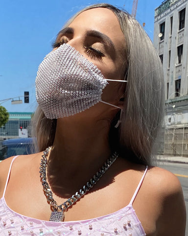 Neva Nude Diamond Heart Mesh Jewel Face Mask