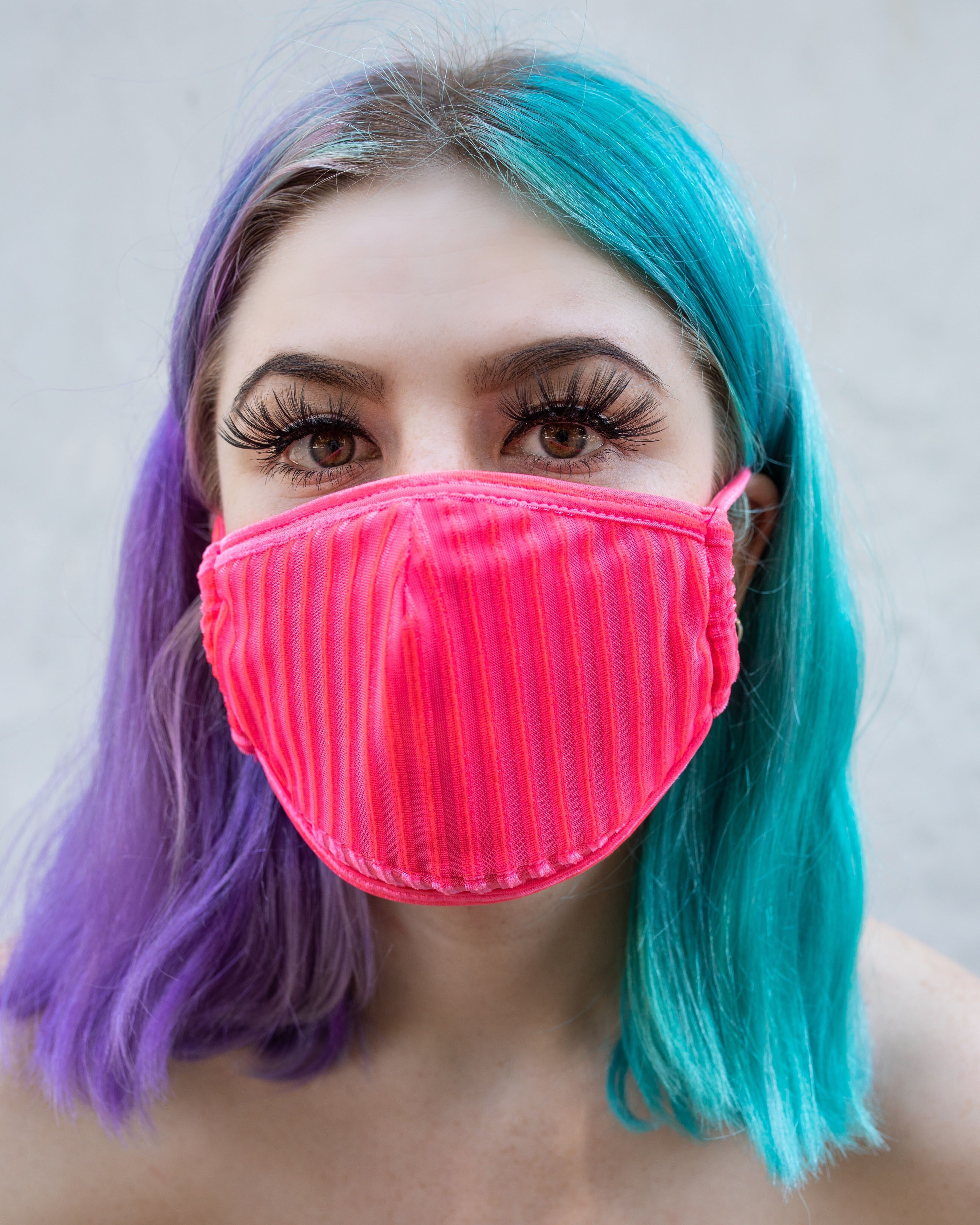Neon Pink Velvet Face Mask With Filter