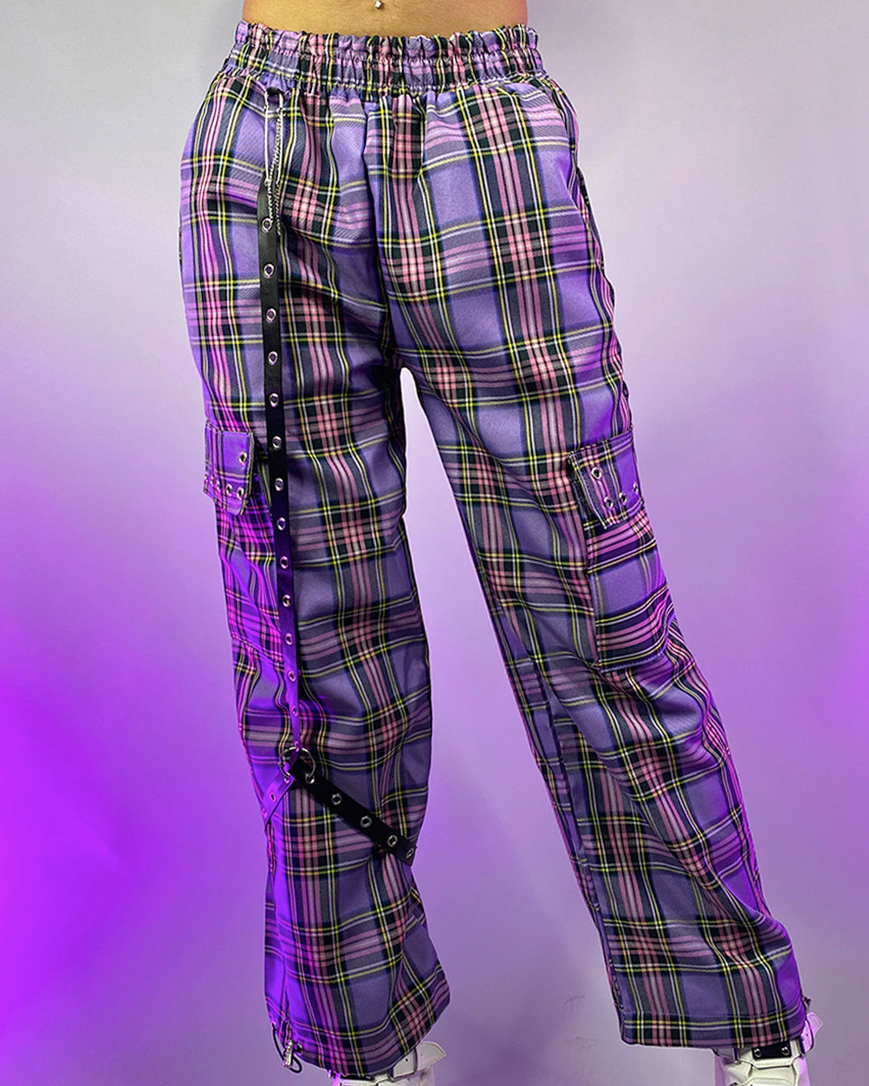 Drowning in Purple Plaid Oversized Cargo Pants