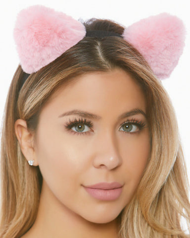 Plush Puff Kitty Cat Ears Headband -  rave wear, rave outfits, edc, booty shorts