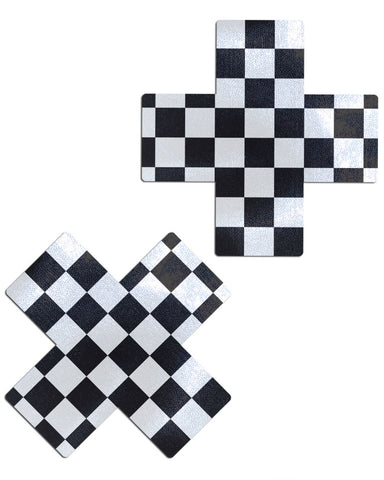 Plus X: Black & White Checker Nipple Pasties