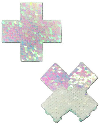 Plus X:  Iridescent Pearl/Matte White Color Changing Reversible Sequin Pasties -  rave wear, rave outfits, edc, booty shorts