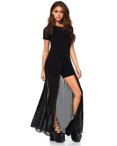 Dark Fatale High Slit Dress