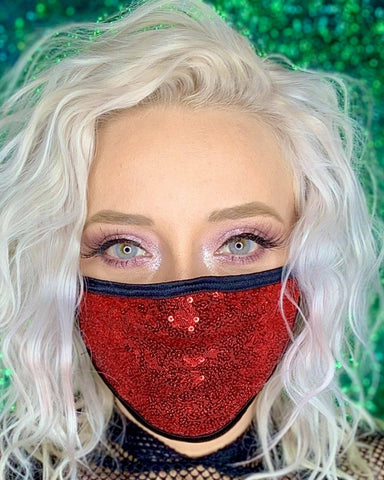Red Sequin Surgical Face Mask