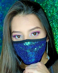 Green/Turquoise Sequin Surgical Face Mask