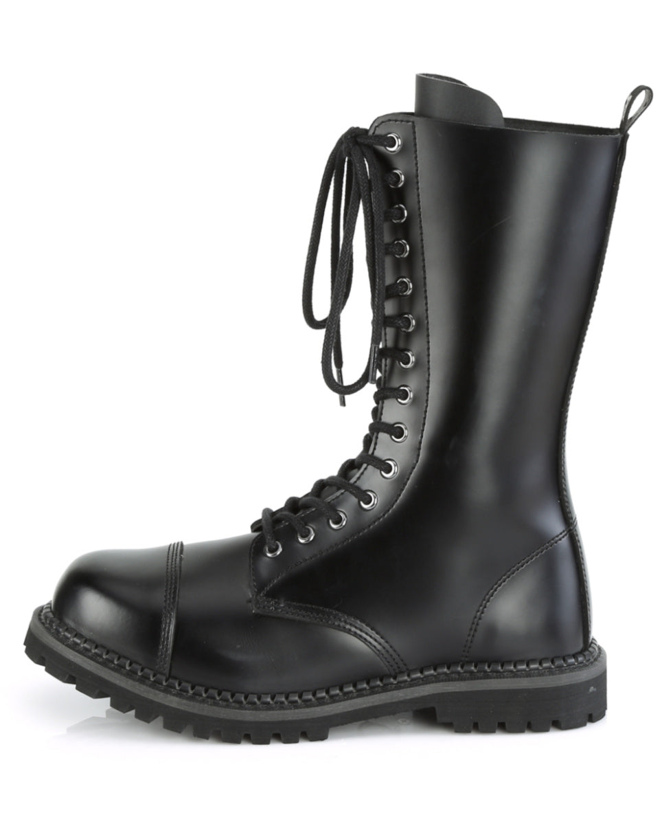 Demonia Black Patent Unisex Mid-Calf Steel Toe Boot