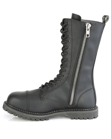 Demonia Black Unisex Mid-Calf Steel Toe Boot