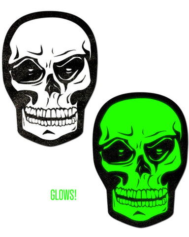 White Skull/Green Glow-in-the-Dark Nipple Pasties