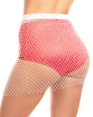 Dark Allure Rhinestone Studded Fishnet Skirt