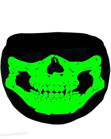Skull Glow in the Dark/Blacklight Reactive Black Surgical Mask