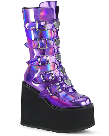 Demonia Purple Hologram Platform Mid-Calf Boots