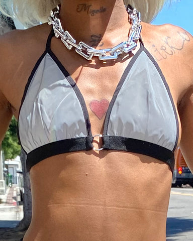 Shine Bright Black Reflective Bikini Top