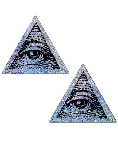 Silver Trippy Glitter All Seeing Eye Triangle Nipple Pasties