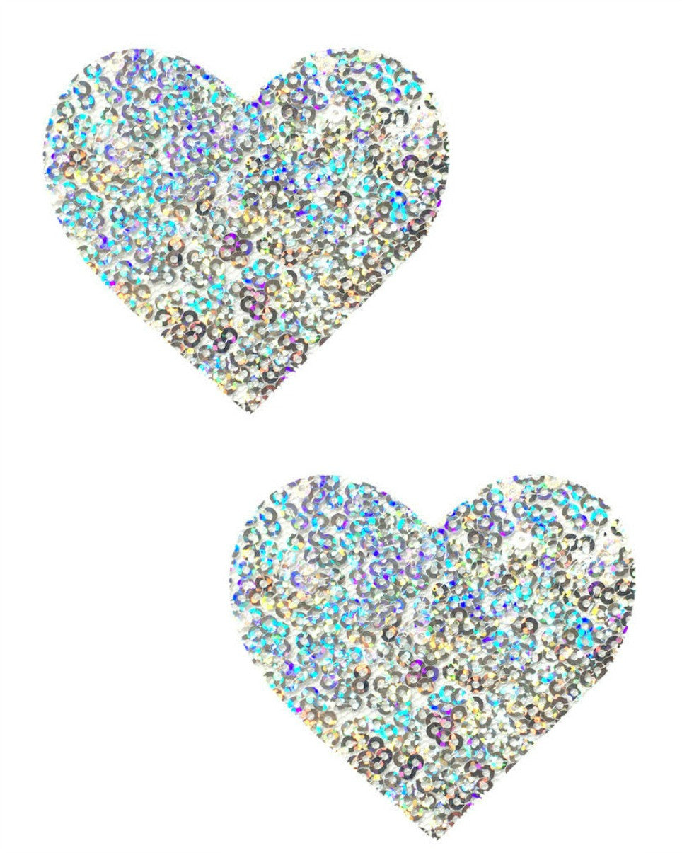 Silver Sequin Heart Pasties -  rave wear, rave outfits, edc, booty shorts