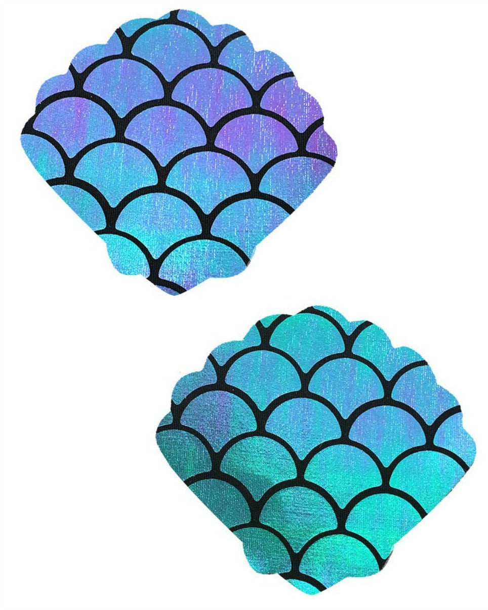 Holographic Blue/Green Mermaid Scale Pattern Shell Pasties