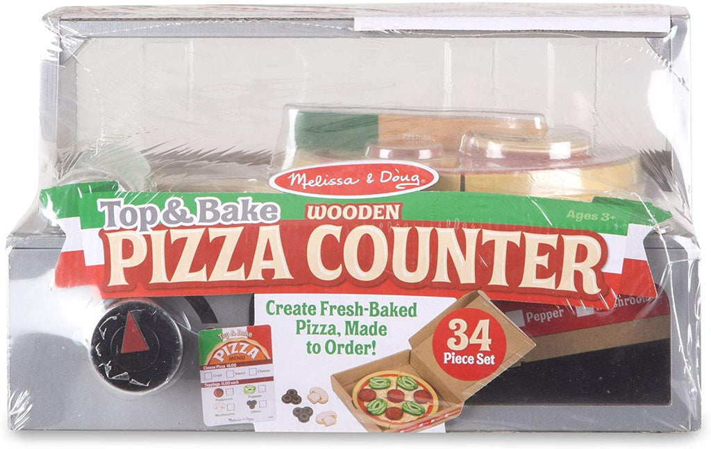 Melissa & Doug Top and Bake Wooden Pizza Counter Play Food Set 131847