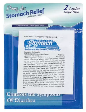Prime Aid Stomach Relief Anti-Diarrheal 2 Caplets Single Use 121388