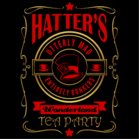 Hatters Utterly Mad Entirely Bonkers Wonderland Tea Party T-Shirt (Red and Gold)