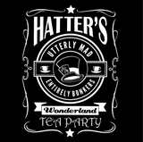 Hatters Utterly Mad Entirely Bonkers Wonderland Tea Party T-Shirt (WHITE)