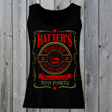 Hatters Utterly Mad Entirely Bonkers Wonderland Tea Party Women's Lady Fit Tank Top (Red & Gold)