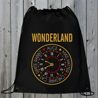 Wonderland Drawstring Bag - Gym Bag - Yoga Bag - Sports Bag - Gaming Bag - Tote Bag Alice, Mad Hatter, White Rabbit, Cheshire Cat
