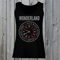 Wonderland Women's Lady Fit Tank Top Alice, Mad Hatter, White Rabbit, Cheshire Cat Tee