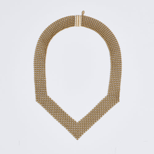 queen ball mesh brass necklace #1