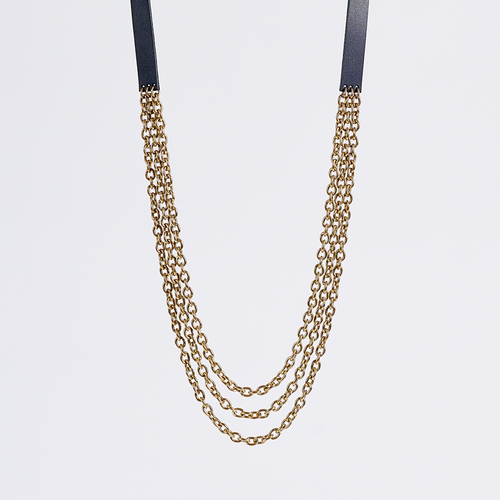 strapped tidy brass necklace #1