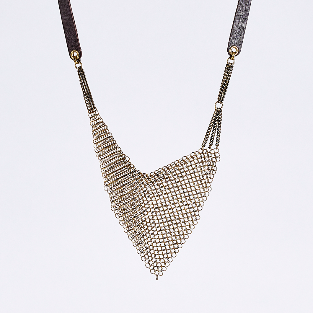 strapped ring mesh brass necklace #3