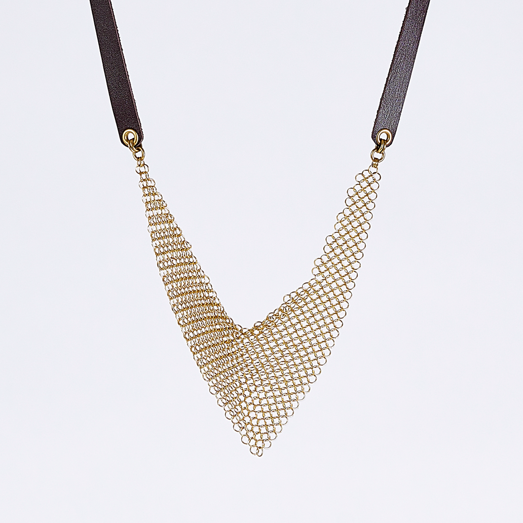 strapped ring mesh brass necklace #2