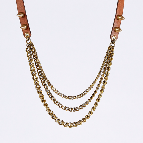 strapped tidy spike brass necklace #2
