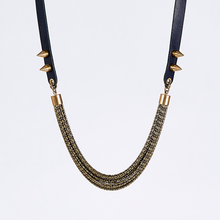 strapped messy L spike brass necklace #1