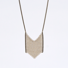 waterfall ring mesh brass necklace #3